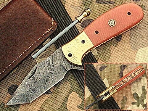 faite à la main 18 cm Awesome couteau de poche pliant des véritables Acier de Damas avec manche G10 Matière Mitres et gravée : (Bdm-96) (Legal au transport)