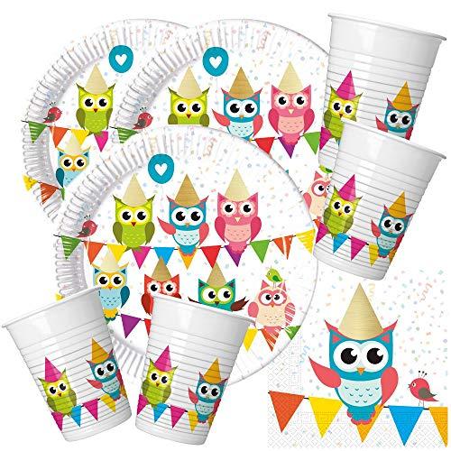 52-teiliges Party-Set Eule My best friend Owl Teller Becher Servietten für 16 Kinder