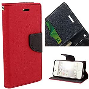Aart Fancy Diary Card Wallet Flip Case Back Cover For Redmi 1s - (Red) by Aart Store