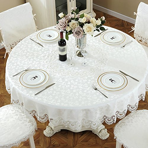 Anjcd Nappe ronde en dentelle blanche en style européen Brodée Pastoral Style Table à manger Tissu Table basse Tablette en tissu ( taille : 180cm )