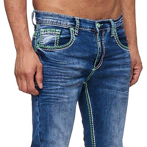 R-Neal NEON-NAHT Kontrast Naht Jeans Hose Used Blau Denim 7444-2 GRÜN, Schrittlänge:W38 / L34 (Schrittlänge Herren Jeans)