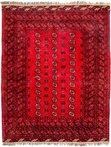 Morgenland afgano tappeto 227 x 180 cm rosso annodato a mano pezzo unico