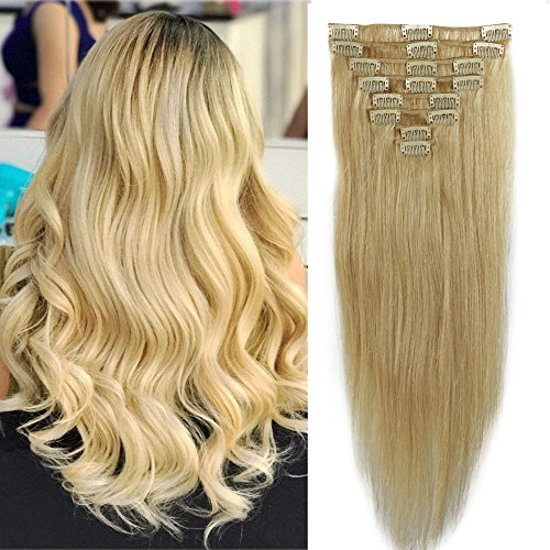 25-55cm 70-110g 8 fasce extension capelli veri clip parrucca bionda 100% remy human hair lunghi lisci umani set full head 40cm-90g 613# biondo chiarissimo