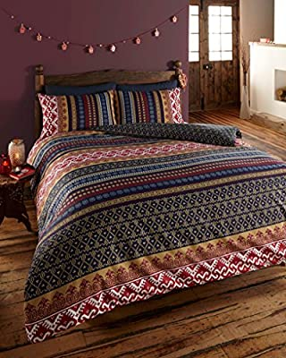 Orkney Reversible Print Quilt Duvet Cover Bedding Set Blue - low-cost UK bedding shop.