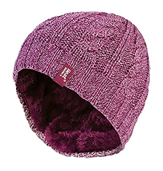 ce4ada55afb Heat Holders - Womens Thermal Fleece Cable knit winter hat 3.4 tog - One  Size (Rose)