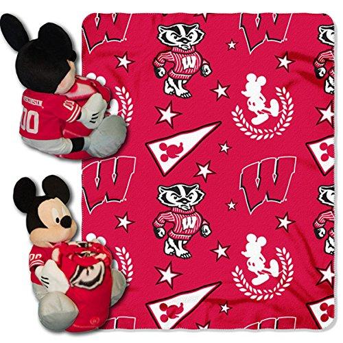 Offiziell lizenzierte NCAA Gamecocks Logo Disney 's Mickey Hugger und Fleece Überwurf Decke Set, Wisconsin Badgers