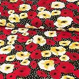 Stoffe Werning Viskosejersey Blüten & Tupfen Gelb Rot