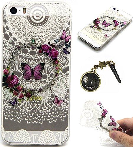 TPU Cuir Coque Strass Case Etui Coque étui de portefeuille protection Coque Case Cas Cuir Swag Pour iPhone 5 / 5s / SE +Bouchons de poussière (T11) 1