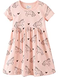 3a209dbe300 Kfnire Little Girls Short Long Sleeve Dress Casual Cute Dinosaur Animal  Print Dress for 1