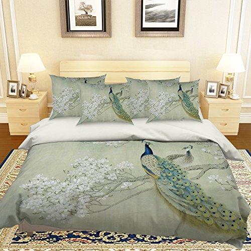 Preisvergleich Produktbild 3D Peacock Pfau Grün Weiß Feder 241 Betten Kopfkissen,  Steppdecke Bettbezug Set Einzel Queen King / 3D-Foto Bettwäsche,  AJ Tapete UK Sieben
