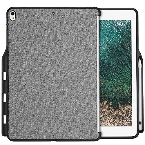 Apple iPad Pro 12.9 Hülle, ProCase Companion Hülle für iPad Pro 12.9 Zoll (beide 2017 und 2015 Modelle), Rückseitige Abdeckung mit Apple Pencil Holder, Passend für Smart Tastatur -Grau (Passend Grau)