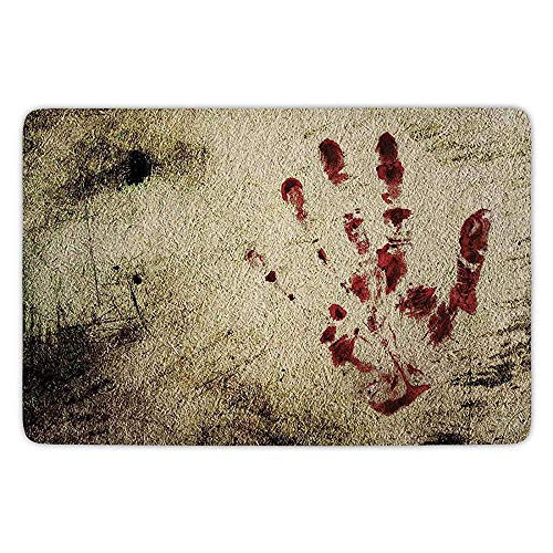 Rug Kitchen Floor Mat Carpet,Horror House Decor,Grunge Dirty Wall with Bloody Hand Print Murky Palm Trace Victim Violence,Red Beige,Flannel Microfiber Non-Slip Soft Absorbent ()