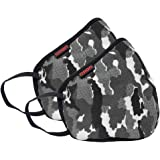 ASIAN Unisex Reusable 6 Layer Army Outdoor Face Mask (Grey) -Pack of 2