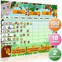 Luigi Safari Safari Animal Magnetic Star/Reward Chart para niños:Fomenta el buen comportamiento y personalizable con elección de imanes y función de borrado en seco