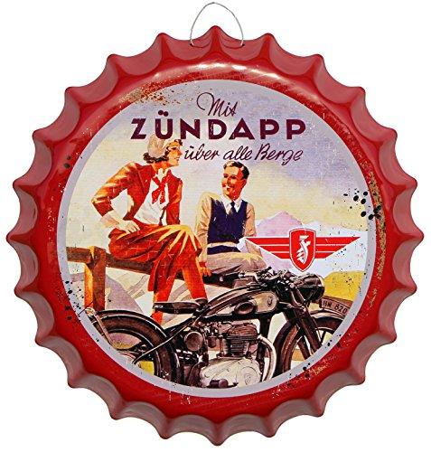 Kronkorken Zündapp Motorrad Rund Blechschild Ø 41cm Bar Deko Schild Blech KK51