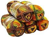 ALIZE 5 x 100 Gramm Diva Batik Wolle Mehrfarbig mit Farbverlauf, 500 Gramm merzerisierte Strickwolle Microfiber-Acryl (Braun Terrakotta Grün Gelb 6828)