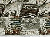 Jacquard Dekostoff, Bücher-Schreibmaschine,