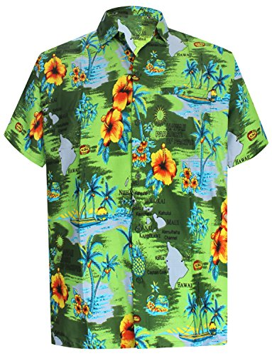 La Leela grün HAWAII PARADISE gedruckt Strand schwimmen Hawaii-Hemd für Männer 4XL (Schlaf-hose Grüne Herren)