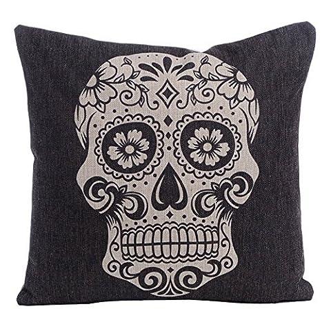 Onker Baumwolle Leinen Quadratisch dekorativer Überwurf-Kissenbezug 45,7x 45,7cm Totenkopf schwarz Halloween All Hallows