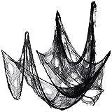 Tela Espeluznante Decoración de Halloween Materiales de Fiesta Tela de Halloween Escalofriante Colgador de Puerta Decorativo (5 Yardas x 30 Pulgadas, Negro)