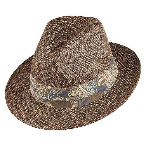 Chapeau Fedora en Paille Toyo Mate avec Bandeau Tropical Marron Dorfman Pacific