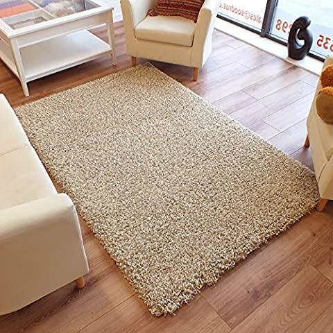 Twilight Rug Thick Luxurious Shaggy Beige Ivory Mix 2m X 2.5m (6'6 X 8'2 Approx)
