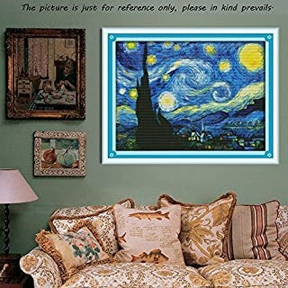 acgosp 14ct DIY 3D Handgemachte Chinesische Hobby Naht Kreuzstich Set Stickdecken Starry Night-Muster Kreuzstich