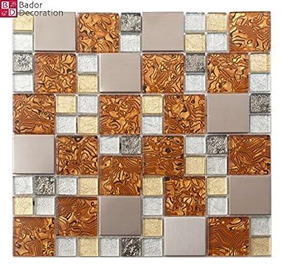 1 Matte Glasmosaik Mosaikfliesen Glas Edelstahl Weiß Gold Caramel Silber 30x30 von Bador bei TapetenShop