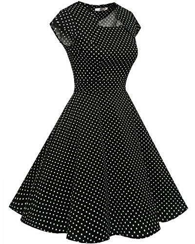 Homrain Damen 50er Vintage Retro Kleid Party Kurzarm Rockabilly Cocktail Abendkleider Black Small White Dot