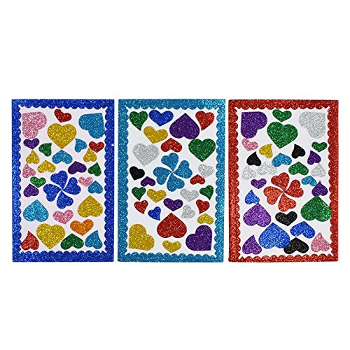 AsianHobbyCrafts Glitter Foam Heart Stickers : Qty 3 sheets : Sheet Size: 30 x 19cm : For hobby crafts, Project making, gift decoration, scrapbooking, wall décor  available at amazon for Rs.150