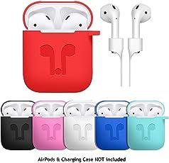 Altsommer Silikonhülle Kopfhörer Muster für Apple AirPods Kopfhörer Cover, Schutzhülle mit Karabiner,Anti-verlorene Linie,Stoßfest Kopfhörer-Box mit Silikon Kopfhörer Schutzhülle