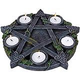 Nemesis Now Wiccan - Portacandela a pentacolo in Resina, 28 cm, Nero, Taglia Unica