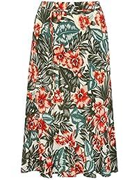 M&Co Ladies Jersey High Waist Knee Midi Length Floral Tropical Print Aline Tie Skirt