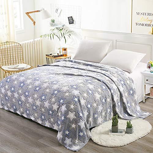 Grande coperta letto matrimoniale blu star 200x220cm caldo pile copriletti plaid per letto divano in microfibra coperta in fleece di corallo blu morbido, facile manutenzione