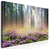 murando - Bilder Wald Nebel 120x60 cm - Leinwandbild - 1 Teilig - Kunstdruck - Modern - Wandbilder XXL - Wanddekoration - Design - Wand Bild - Blumenwiese Violett c-B-0373-b-a
