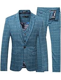 Plaid – Camisa para hombre de corte moderno. Traje de 3 piezas Blazer para hombre Tux pantalones y chaleco Azul azul S