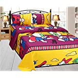Fresh From Loom Cartoon 150 TC Cotton Double Bedsheet with 2 Pillow Covers - Yellow