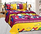Fresh From Loom Cartoon 150 TC Cotton Double Bedsheet with 2 Pillow Covers, Yellow