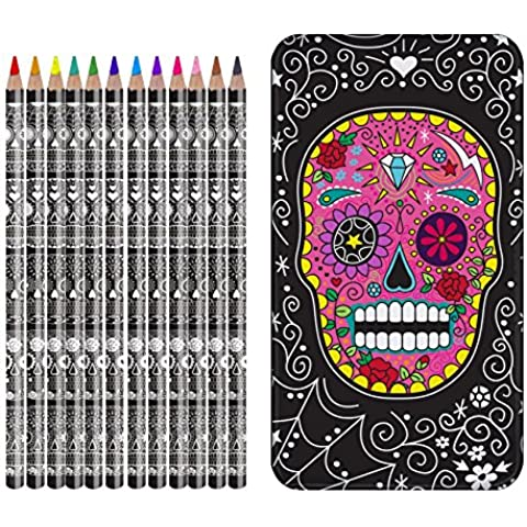 Sugar Skull Deluxe Coloured Pencil Set - Deluxe Pencil Case