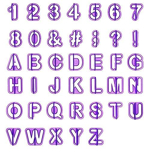 LIHAO 40pcs Emporte Pièce Lettres Alphabet Nombre Découpoirs pour Décoration Pâte à Sucre, Biscuit, Gâteau