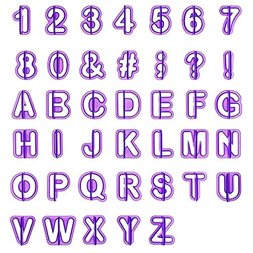 LEMESO LIHAO 40tlg Ausstecher Buchstaben Fondant Ausstechformen Alphabet Zahlen Zeichensetzung Tortendeko