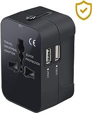 Adattatore da Viaggio Universale,Hovast Adattatore Presa Spina con 2 USB Adattatore All-in-one Caricatore,Alimentazione Caricatore Africane/europee/americane Adatto per più di paesi (1pcs)