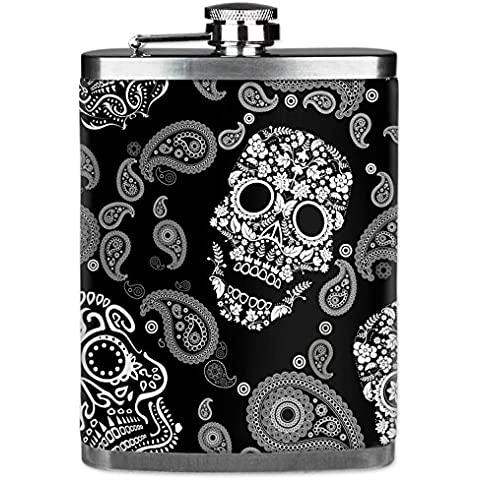 Mugzie® brand 7 Oz Hip Flask with Insulated Wetsuit Cover - White Sugar Skulls by Mugzie