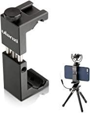 Ulanzi ST-02S Aluminium Phone Tripod Mount with Cold Shoe Mount for Microphone, Universal Metal Tripod Clipper Clamp for iPhone X 8 8 Plus 7 plusSamsung Mobile Tripod, Support Vertical Shooting Mode