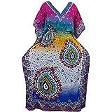 Mogul Interior Womens Maxi Caftan Dresses Blue Printed Kimono Resortwear Boho Kaftan Cover Up