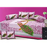 Stop N Shopp Cotton Jaipuri Diwan Sets Of 1 Bed Sheet,2 Bolster Cover And 5 Cushion Cover, Multicolor