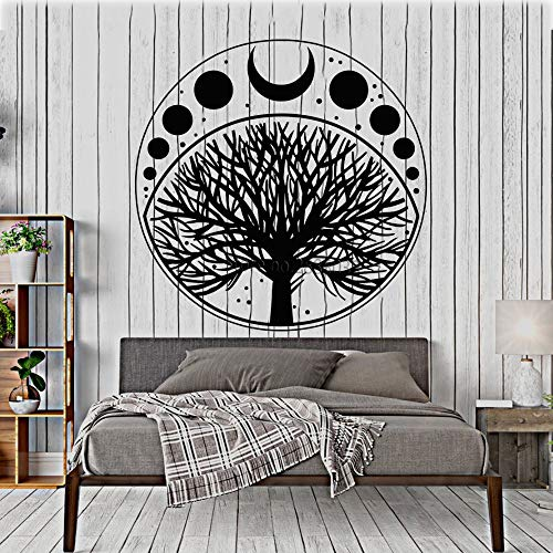 yaoxingfu Moon Phases Cycle Tree of Life Symbol Sticker Vinyl Wall Decal Art Home Decor Wallpaper Bedroom Wall Decoration Removable Lc    56cm x 56cm