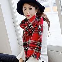 Sciarpa femmina studente coreano in inverno Plaid di lana sciarpa lavorata a maglia Sciarpa donna donne inverno lungo tracolla imbottita 57*190cm,rosso scuro