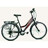 breluxx® 26 Zoll Damenfahrrad Mädchenrad Citybike Black - 21 Gang Shimano + Beleuchtung