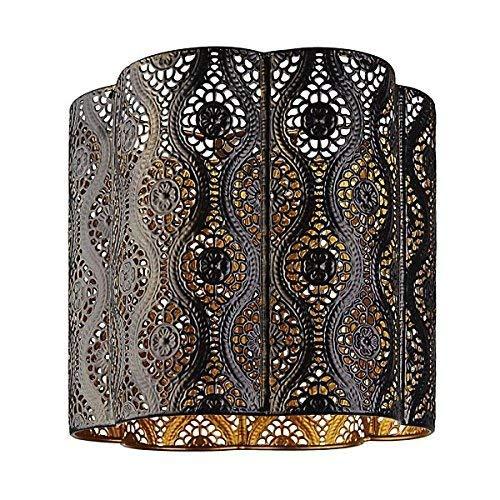 Lámpara de techo colgante estilo marroquí, color marrón chocolate con interior dorado